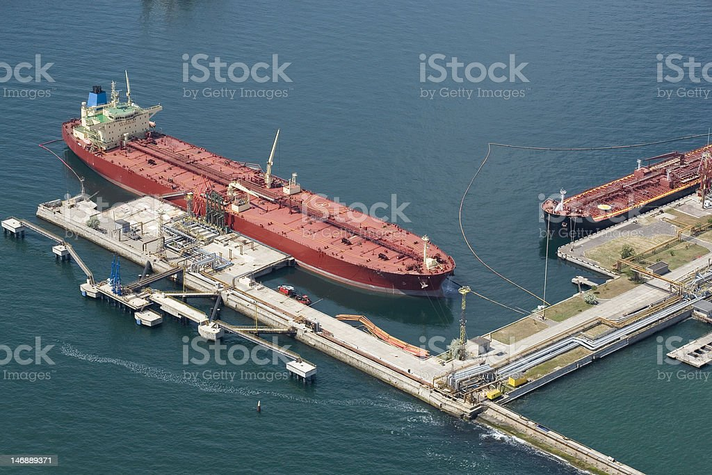The tanker near a mooring stock photo
