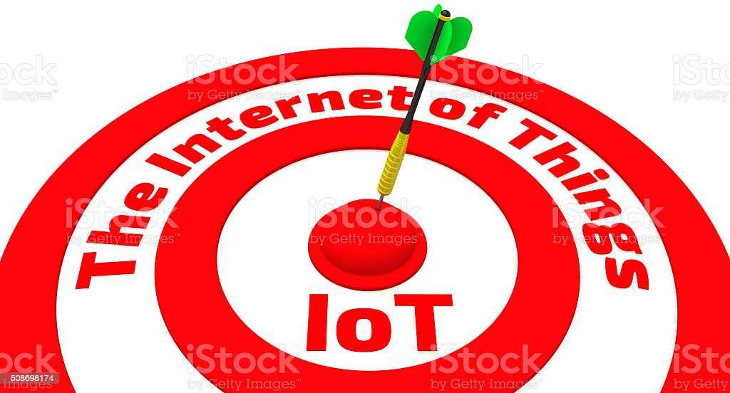 The target with the inscription 'The Internet of Things' stock photo
