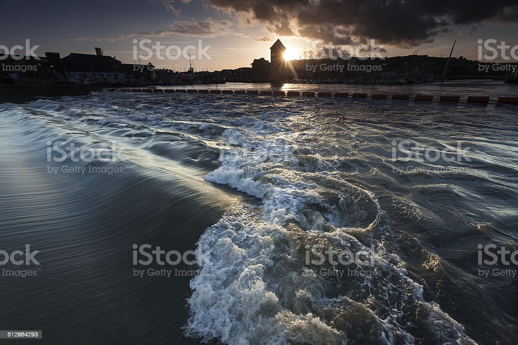 The Tawe barrage in full flow stock photo
