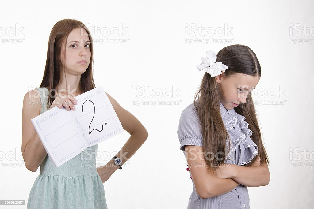 The teacher put a deuce upset pupil stock photo