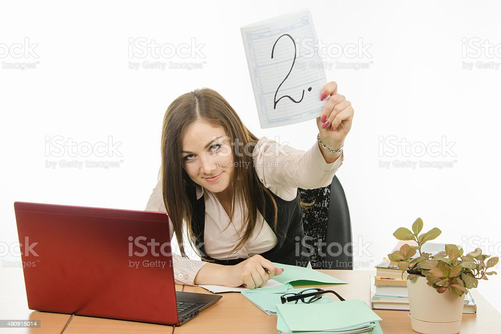 The teacher will gladly put a deuce student stock photo