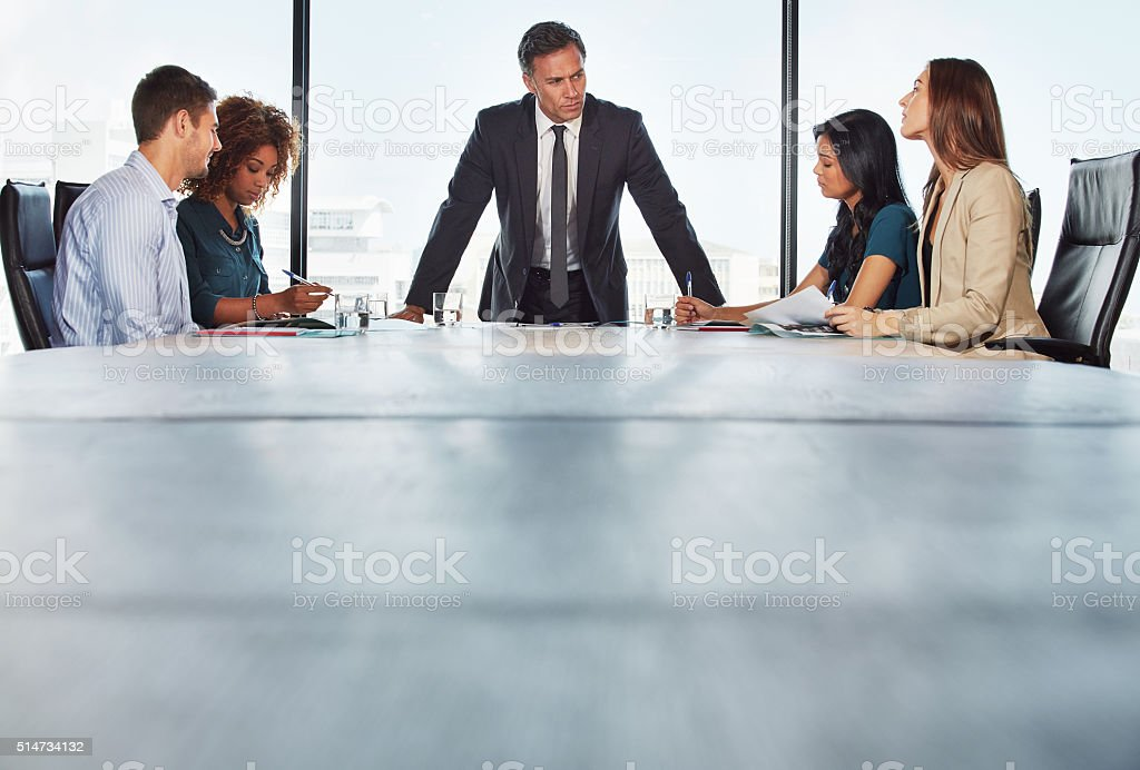 The team's talking strategy stock photo