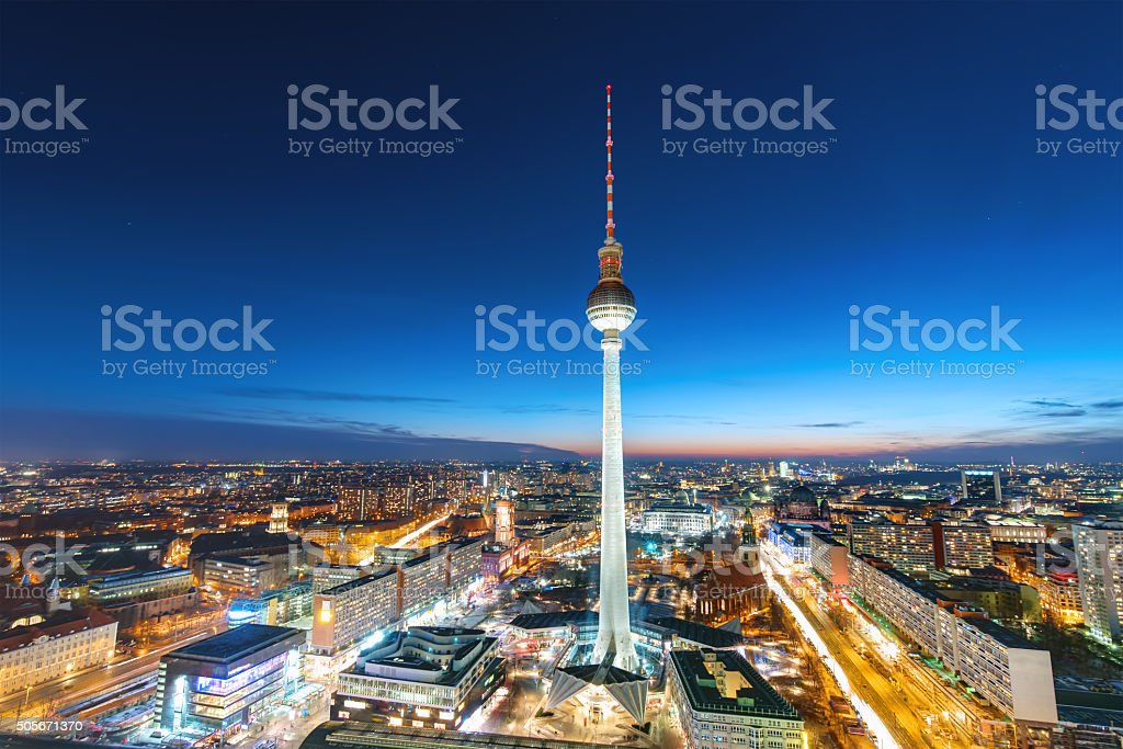 The Television Tower at night stock photo