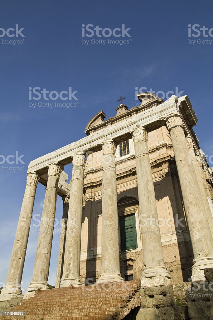 The Temple in Roman Forum royalty-free stock photo