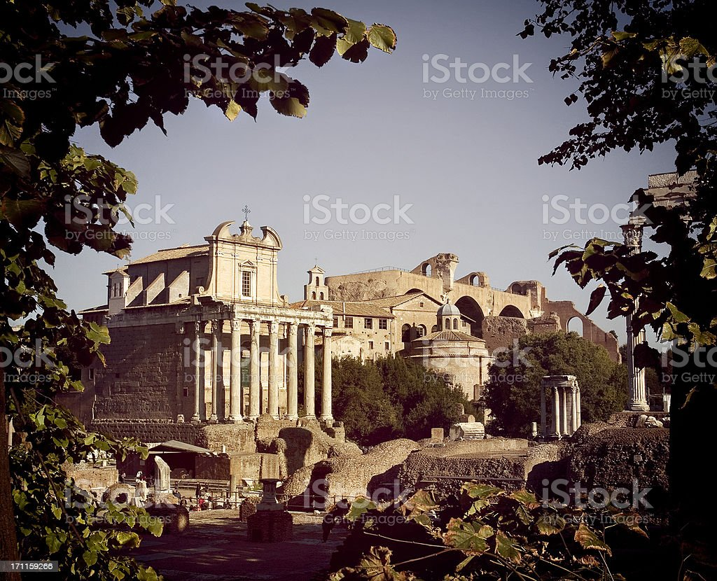 The Temple of Antoninus and Faustina in Roman forum royalty-free stock photo