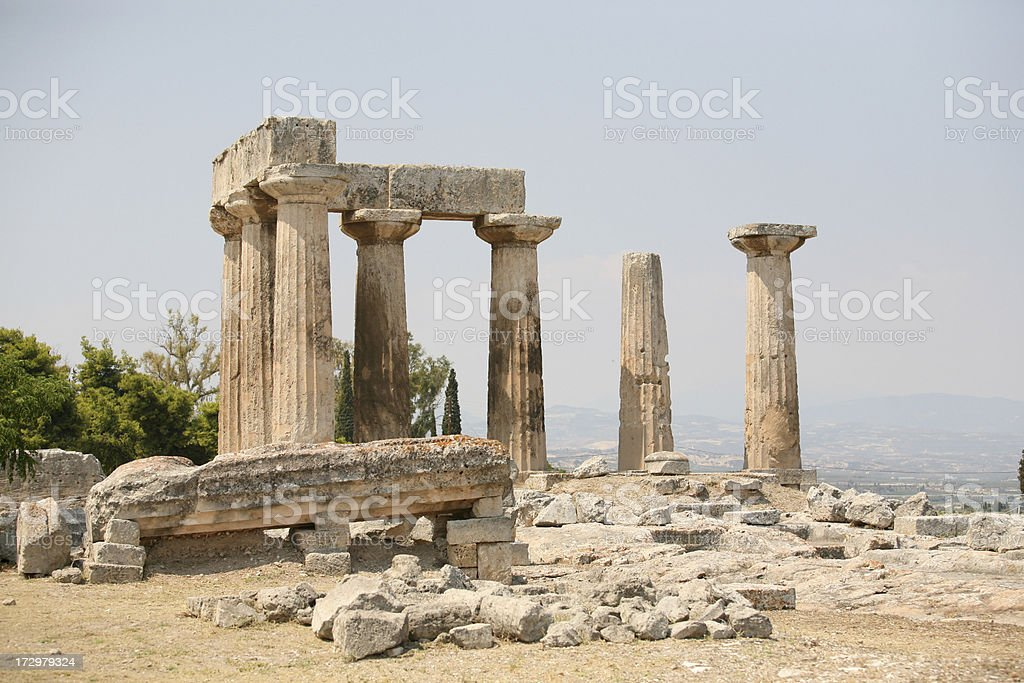 The Temple of Apollo in Corinth royalty-free stock photo