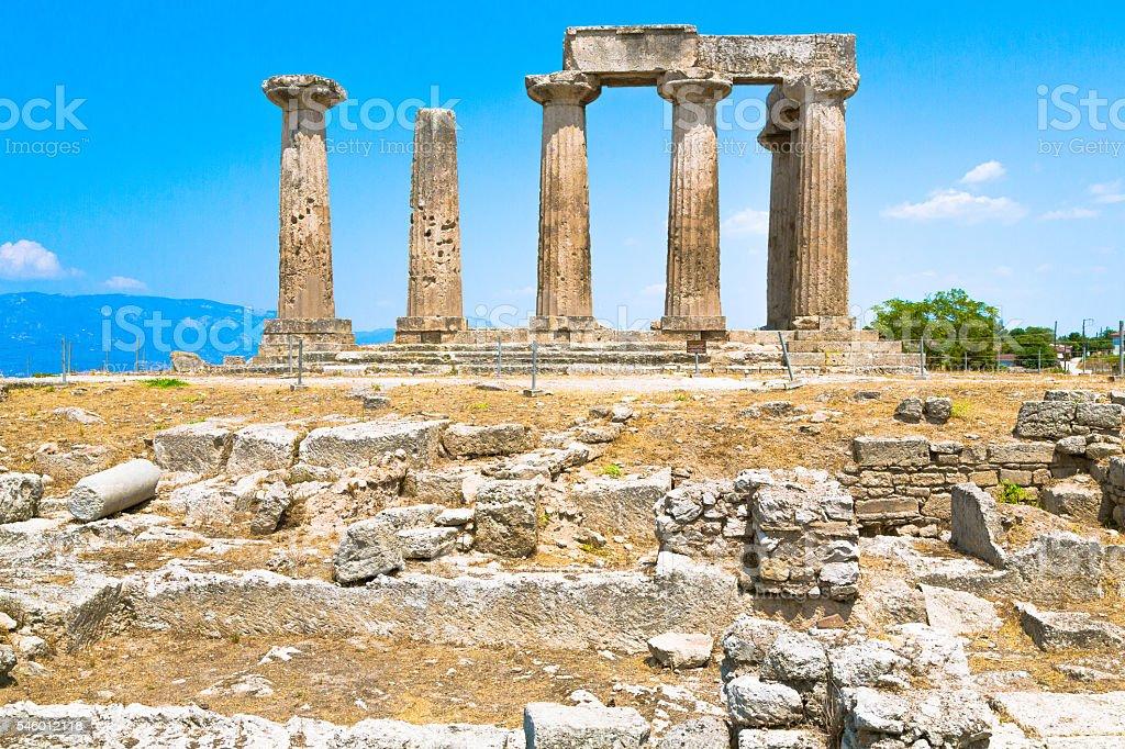 The Temple of Apollo in Corinth stock photo