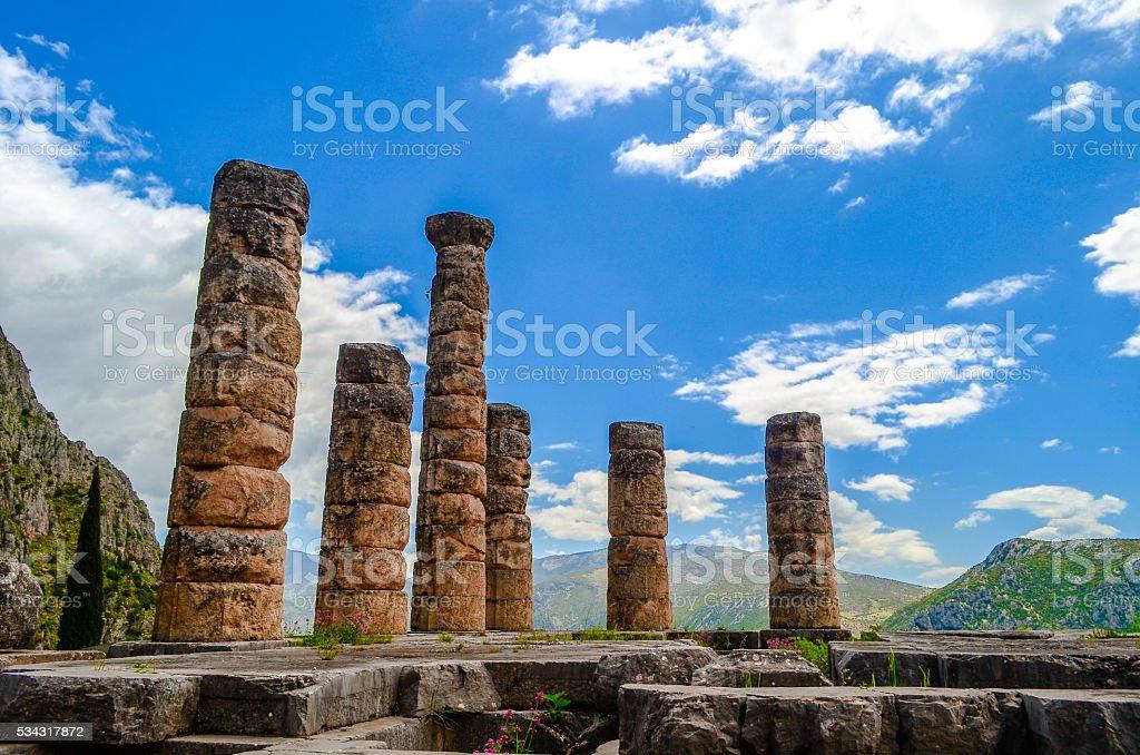 The temple of Apollo in Delphi, Greece stock photo