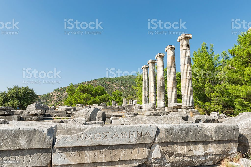 The temple of Athena at Priene ancient city in Turkey stock photo