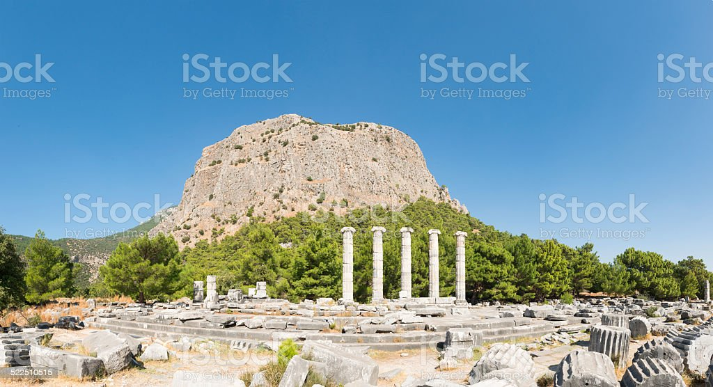 The temple of Athena at Priene ancient city stock photo