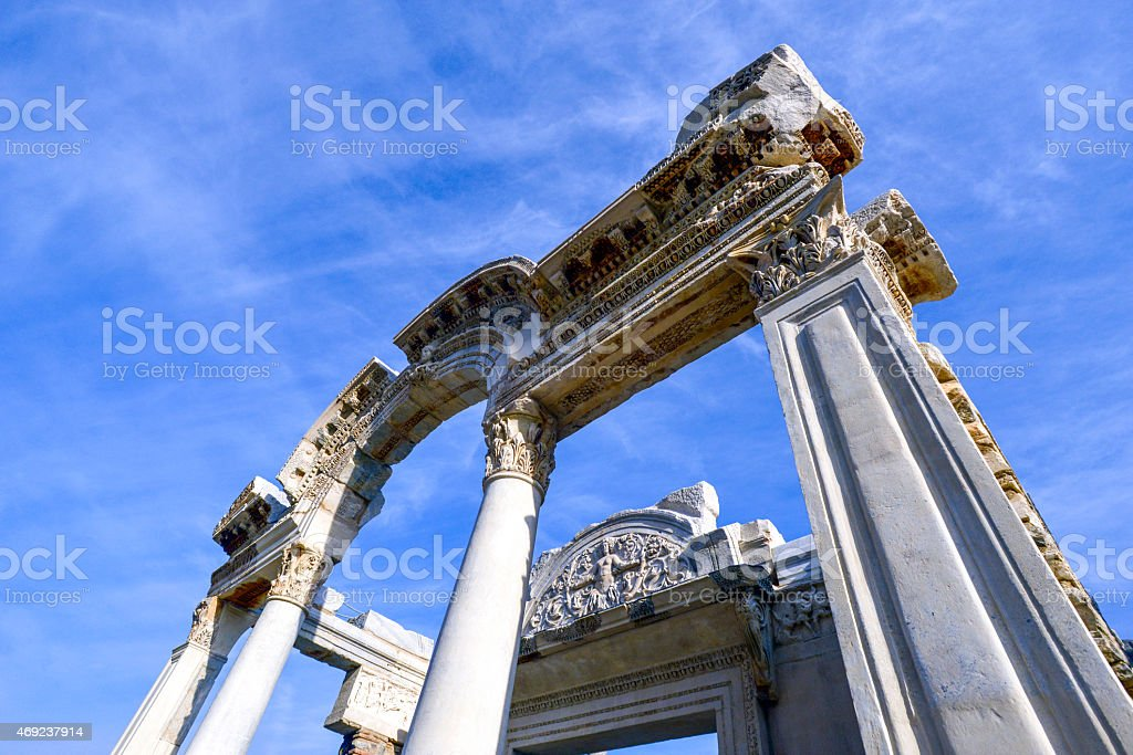 The Temple of Hadrian stock photo