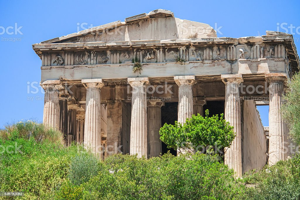 The temple of Hephaestus in the Ancient Agora of Athens. stock photo