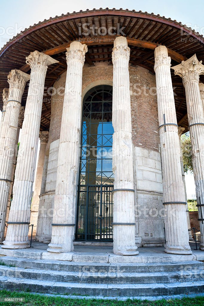 The Temple of Hercules Victor in Rome, Italy stock photo