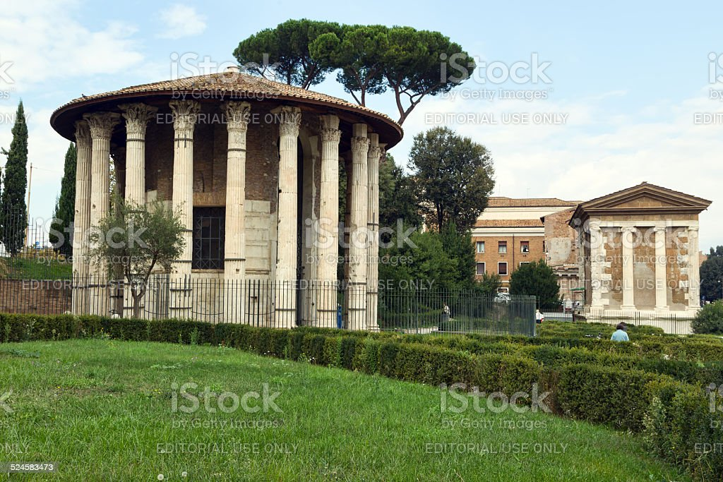 The Temple of Hercules Victor in Rome. stock photo