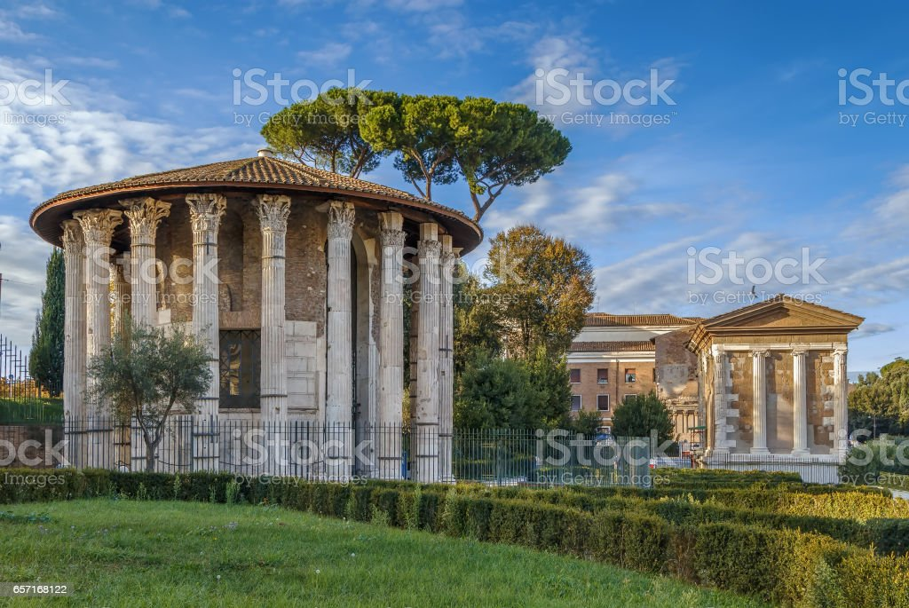 The Temple of Hercules Victor, Rome stock photo