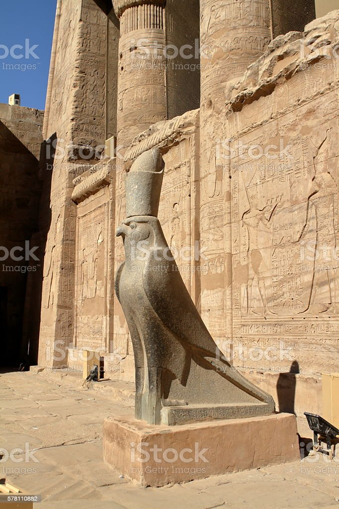 The Temple of Horus at Edfu in Egypt stock photo