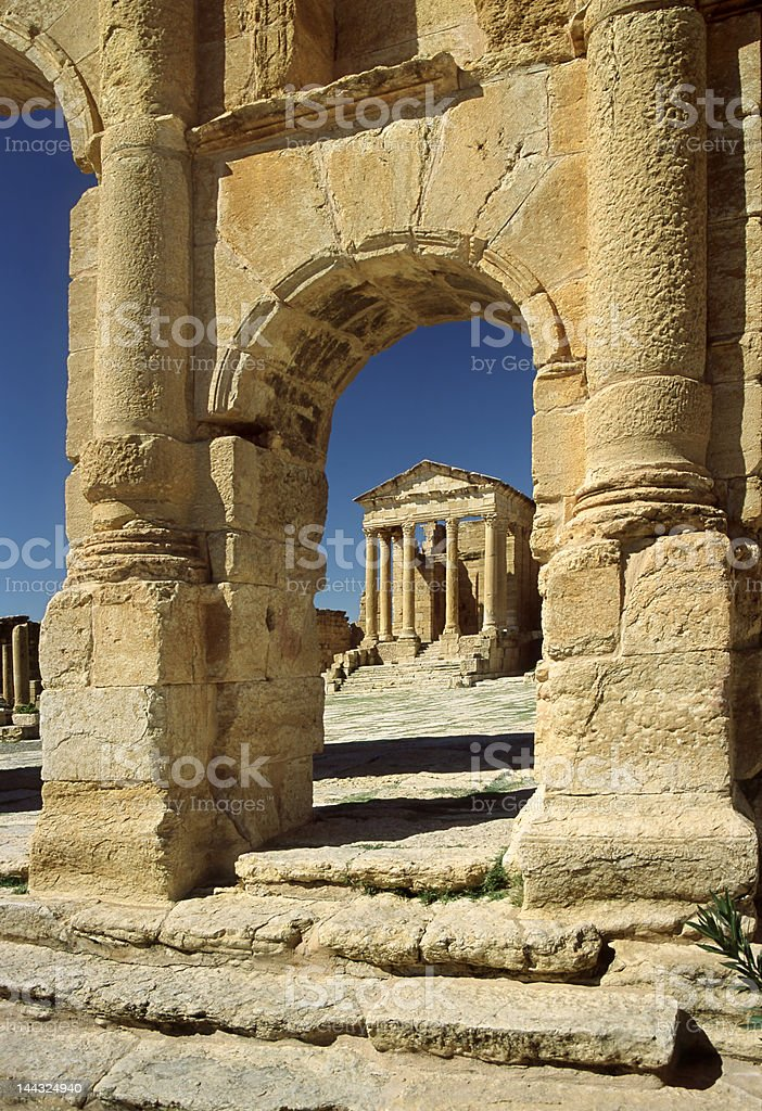 The temple of Minerva in Sufetula royalty-free stock photo