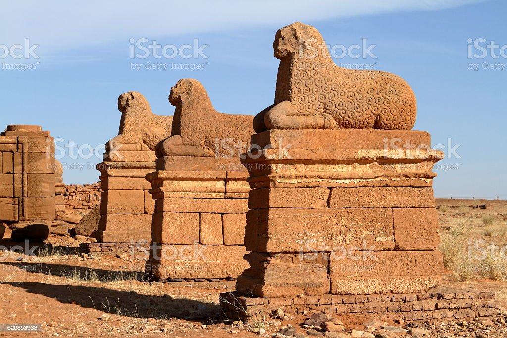 The Temple of Naga in the Sahara of Sudan stock photo