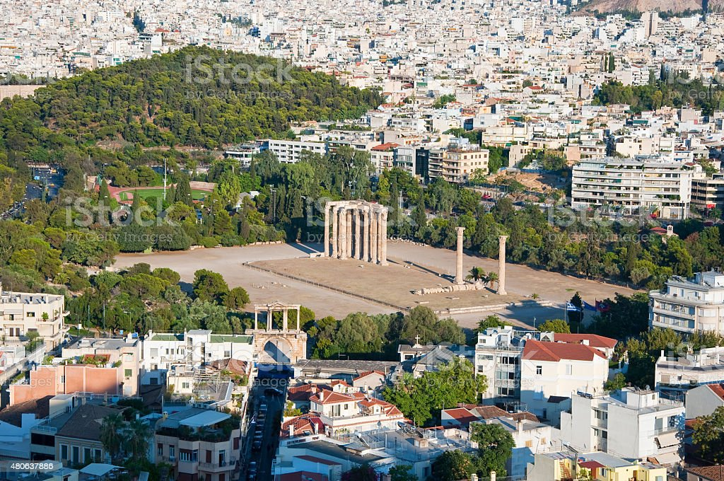 The Temple of Olympian Zeus in Athens, Greece. stock photo