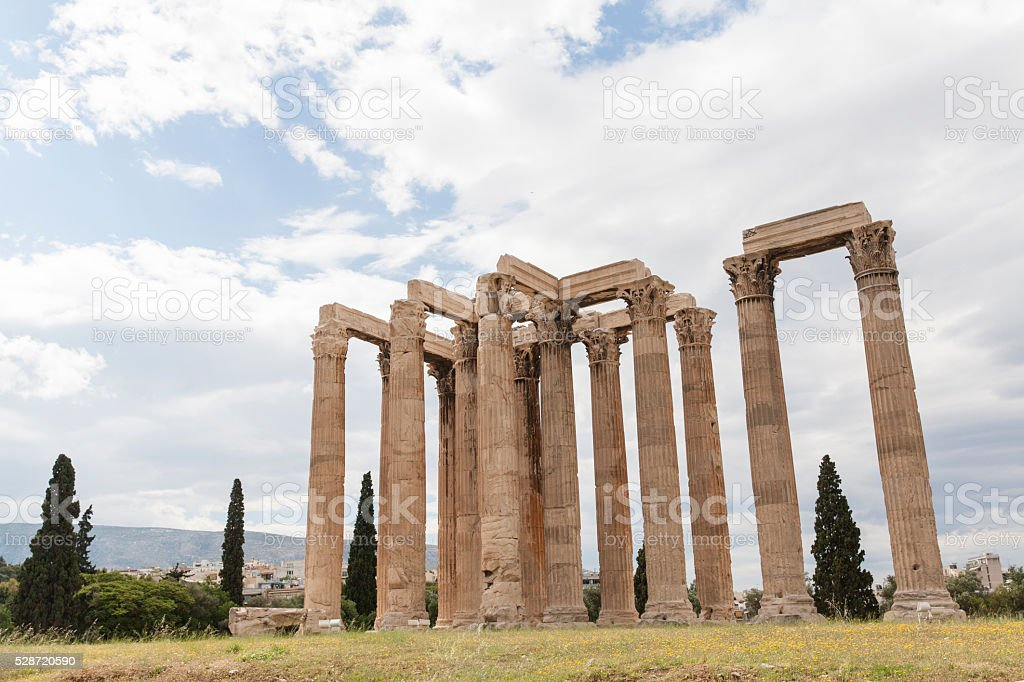 The Temple of Olympian Zeus in Athens stock photo