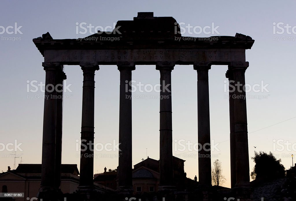 The temple of Saturn i stock photo
