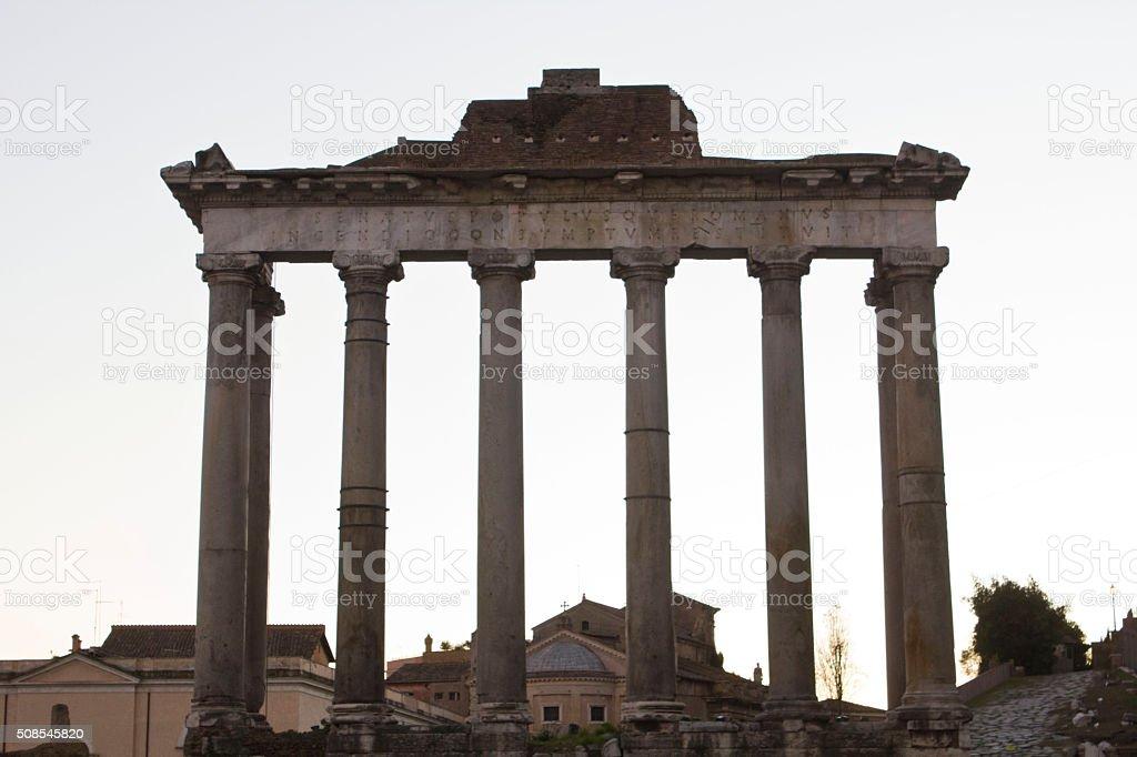 The temple of Saturn in Foro Romano in Rome stock photo