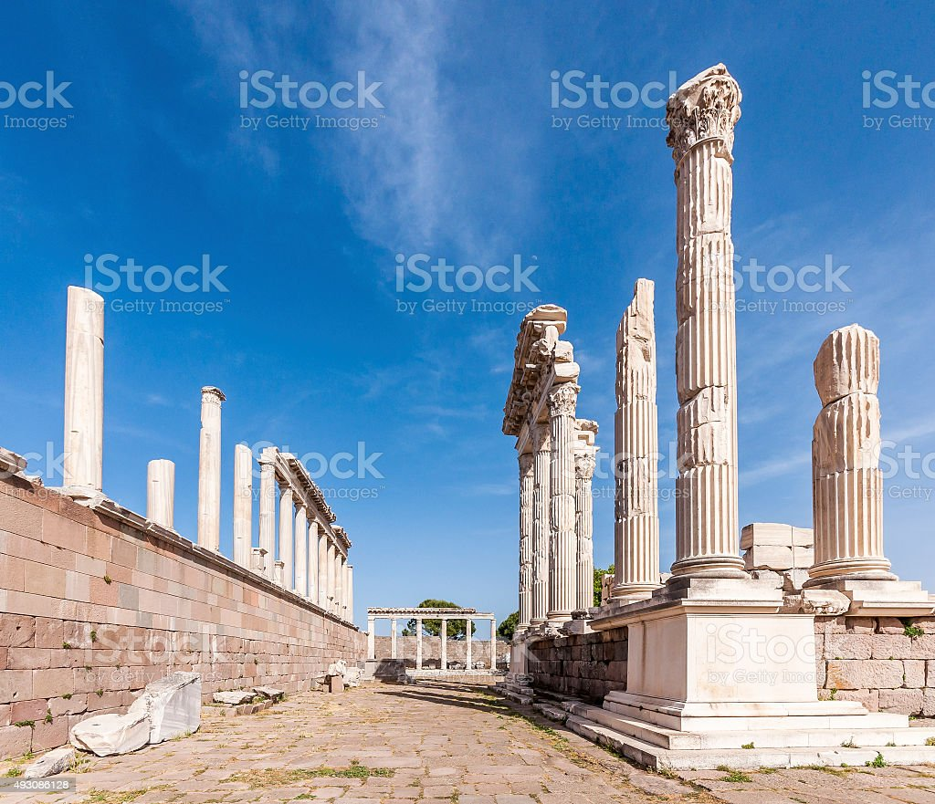 The temple of Trajan, Pergamon stock photo