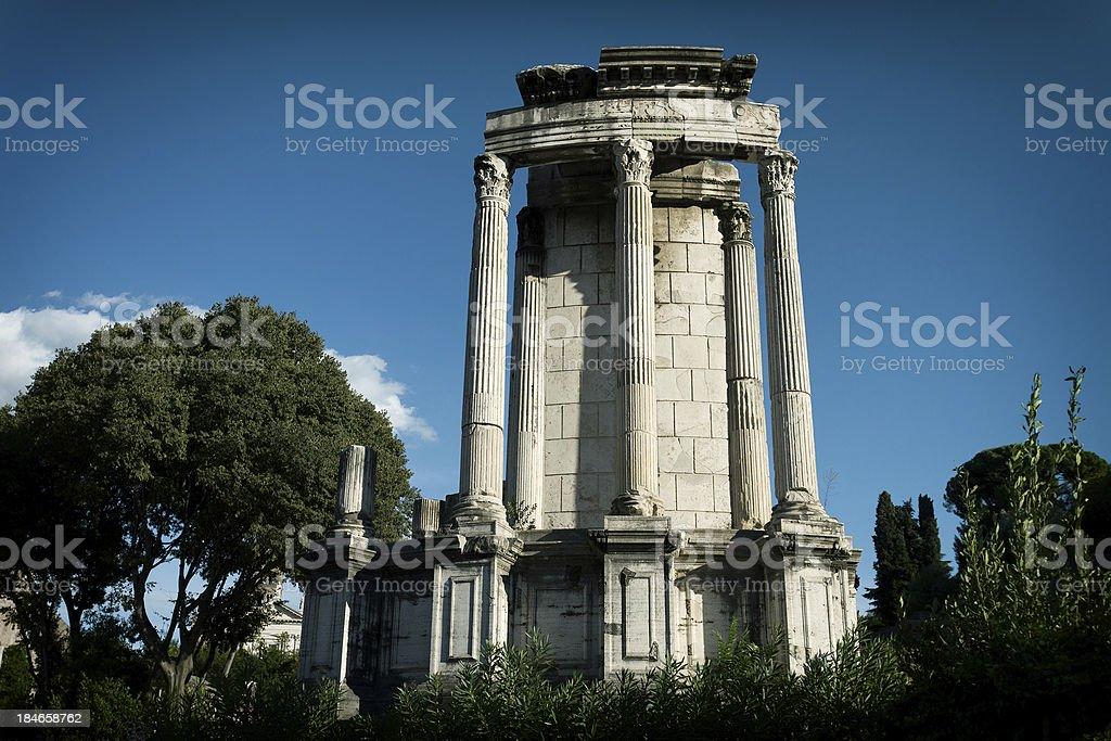 The Temple of Vesta at Roman forum in Rome stock photo