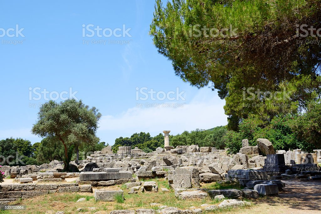 The Temple of Zeus ruins in ancient Olympia, Peloponnes, Greece stock photo