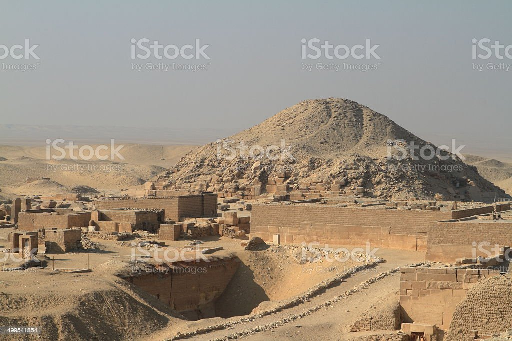 The temples and pyramids of Saqqara in Egypt stock photo