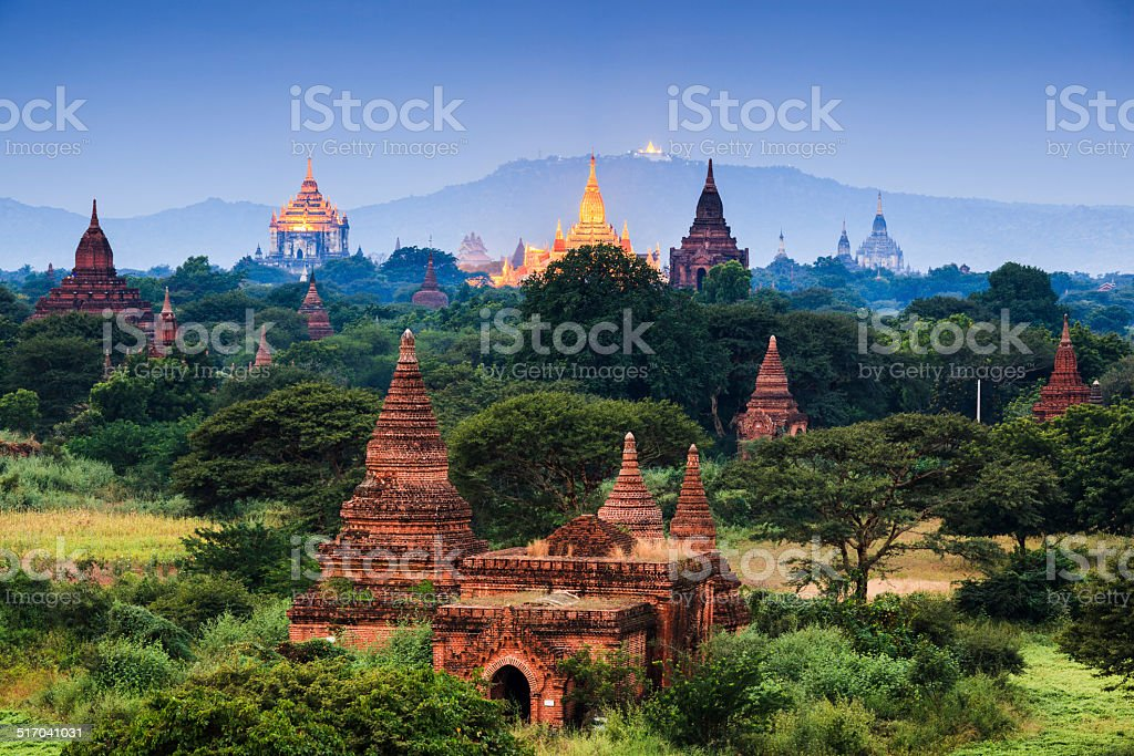 The Temples of bagan at sunrise, Bagan, Myanmar stock photo