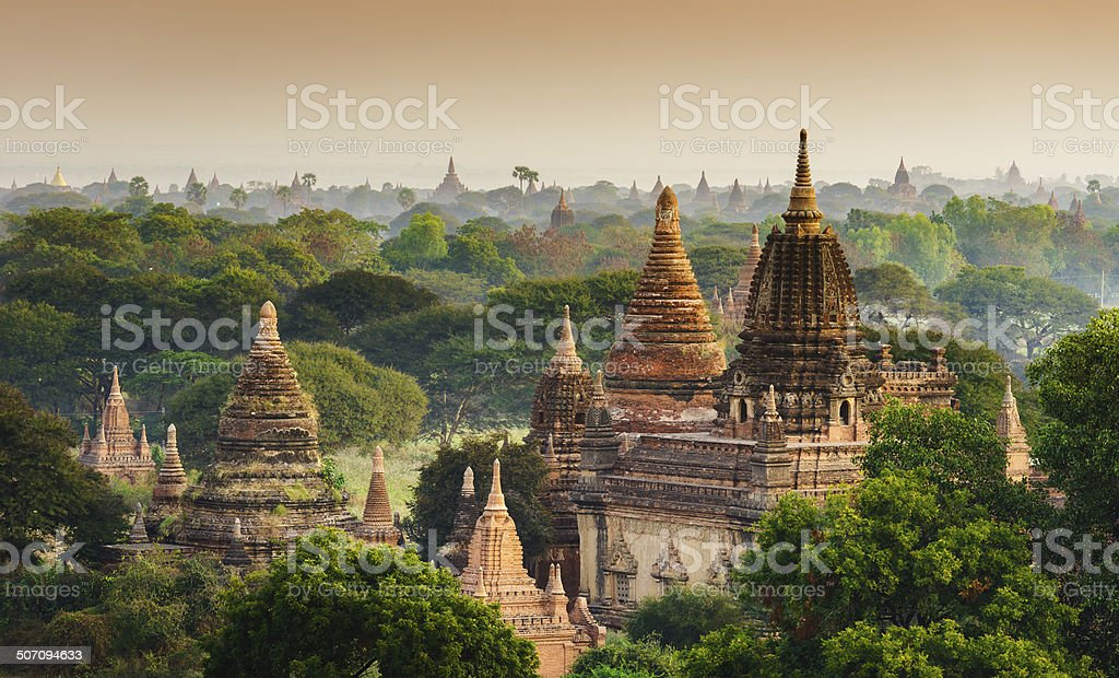 The Temples of bagan at sunrise, Mandalay,Myanmar stock photo