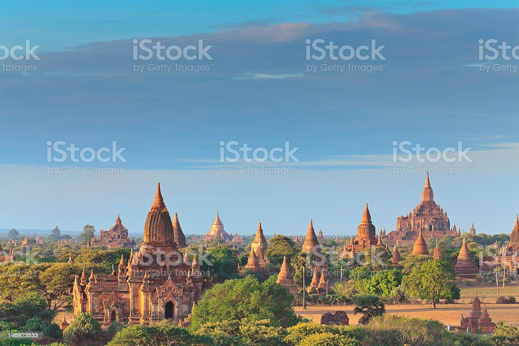 The Temples of bagan at sunrise, Myanmar royalty-free stock photo