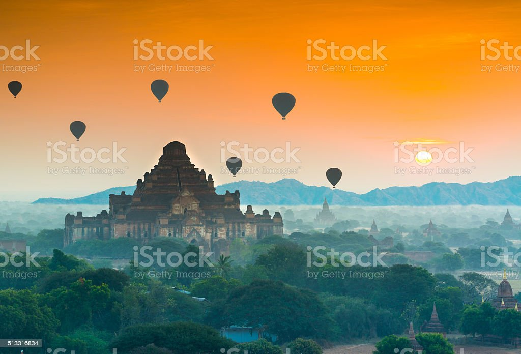 The temples of Bagan, Myanmar stock photo