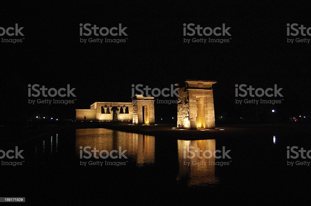 The Templo de Debod reflected in water, Madrid, Spain royalty-free stock photo