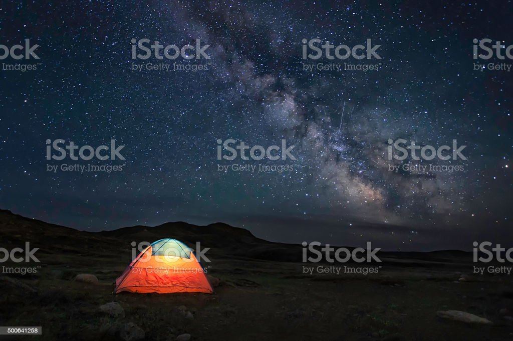 The tent under the milky way stock photo