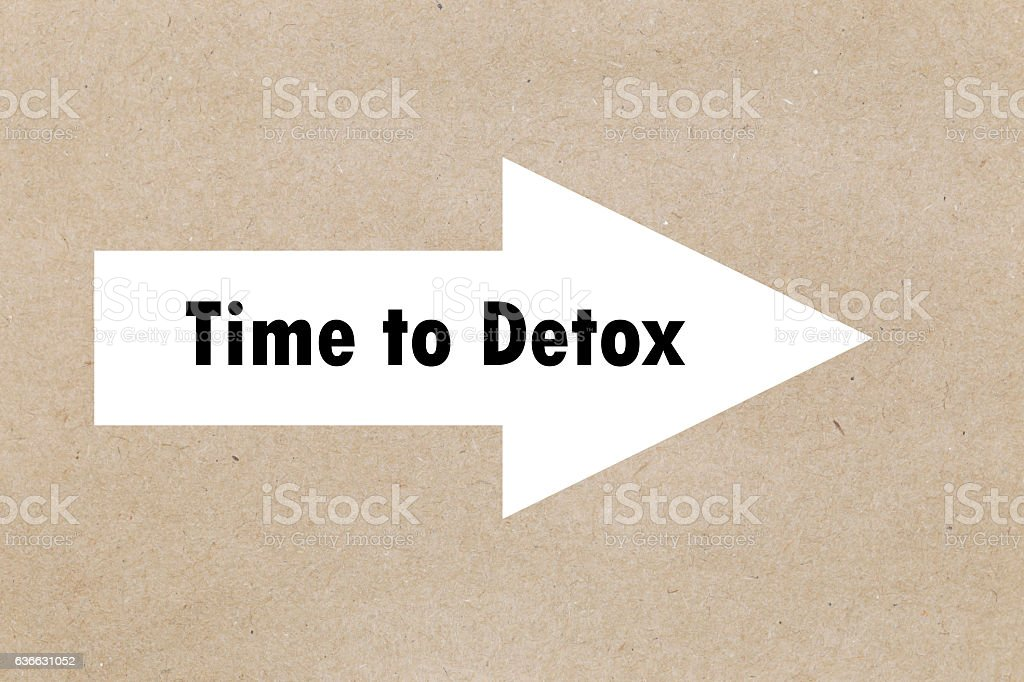 The text time to detox appearing behind torn yellow paper. stock photo