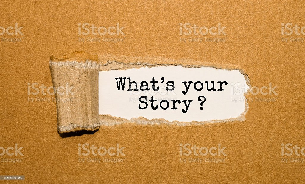 The text What's your story? appearing behind torn brown paper stock photo