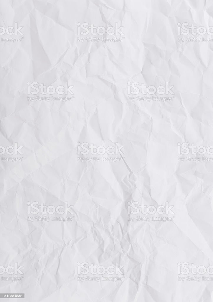 The texture of crumpled paper a4 sheet closeup stock photo