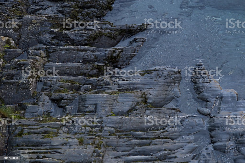 The Texture of Stone ground on water in Haast Pass stock photo
