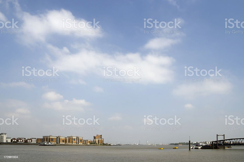 The Thames below Woolwich stock photo