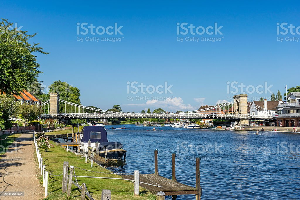 The Thames river walk at Marlow stock photo