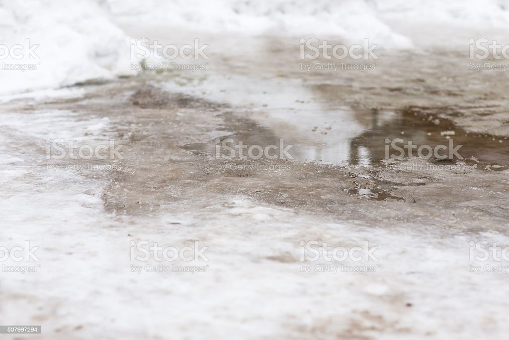 The thaw in the winter. stock photo