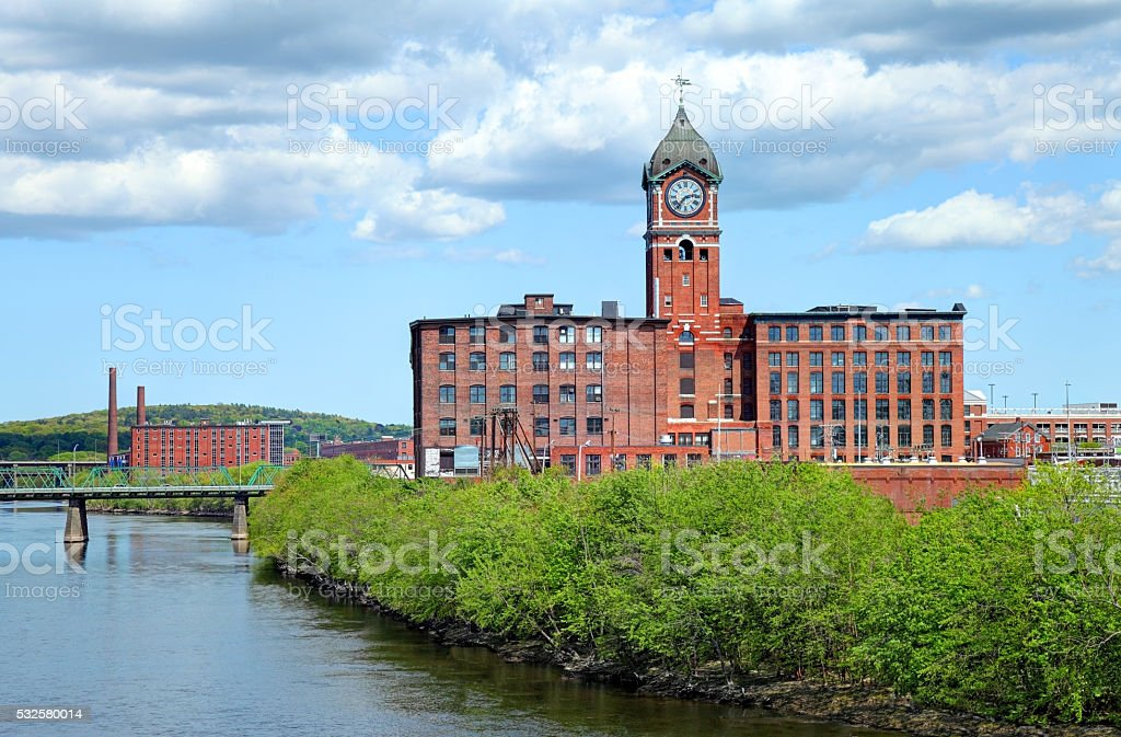 The the world's largest mill clock in Lawrence, Massachusetts stock photo