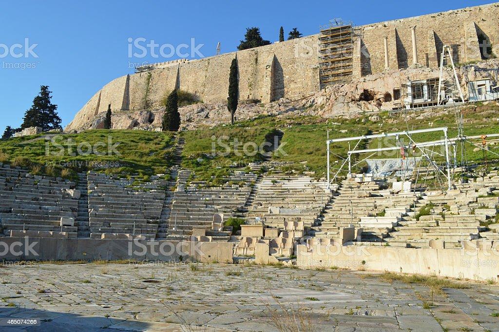 El teatro de Delphi en la ciudad de Atenas foto de stock libre de derechos