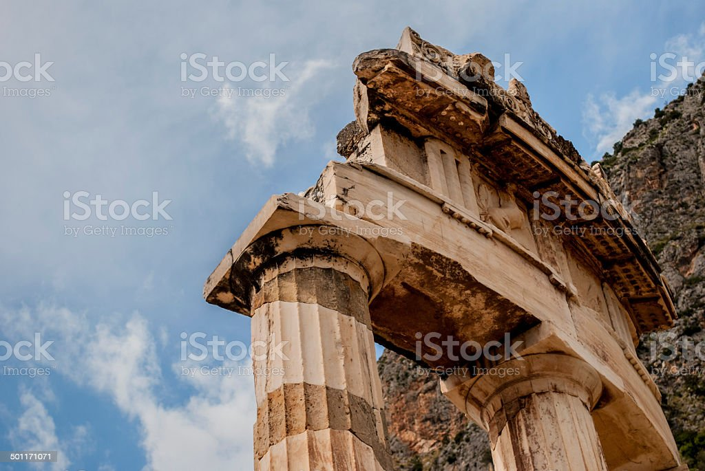 The Tholos detail at the Temple of Athena stock photo
