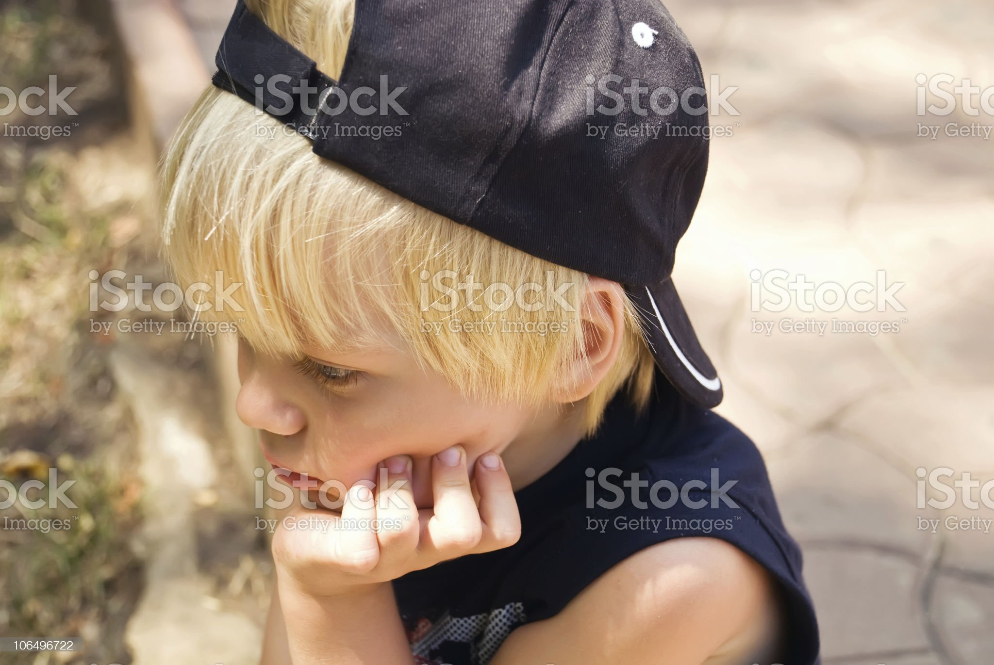 The thoughtful boy royalty-free stock photo