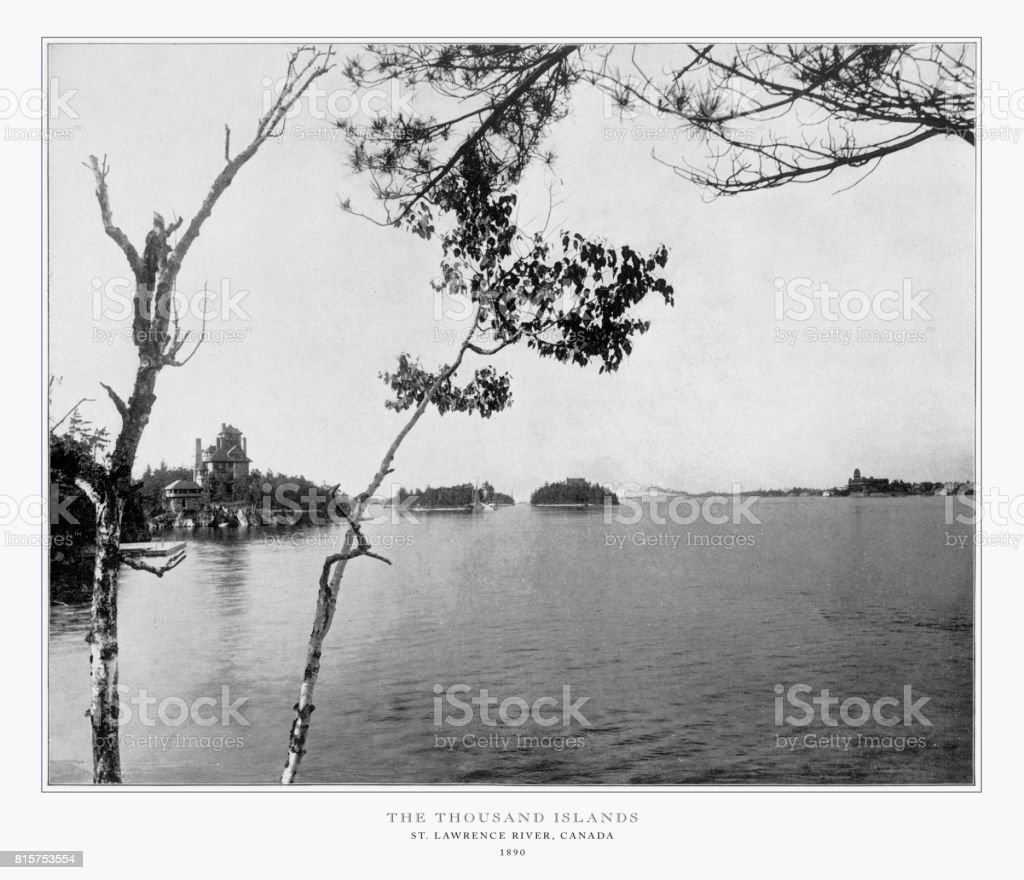 The Thousand Islands, Saint Lawrence River, Canada, Antique Canadian Photograph, 1893 stock photo