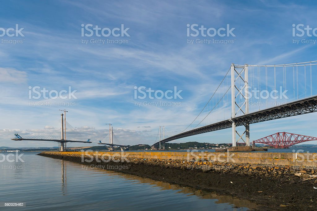 The three bridges over the Firth of Forth in Scotland stock photo