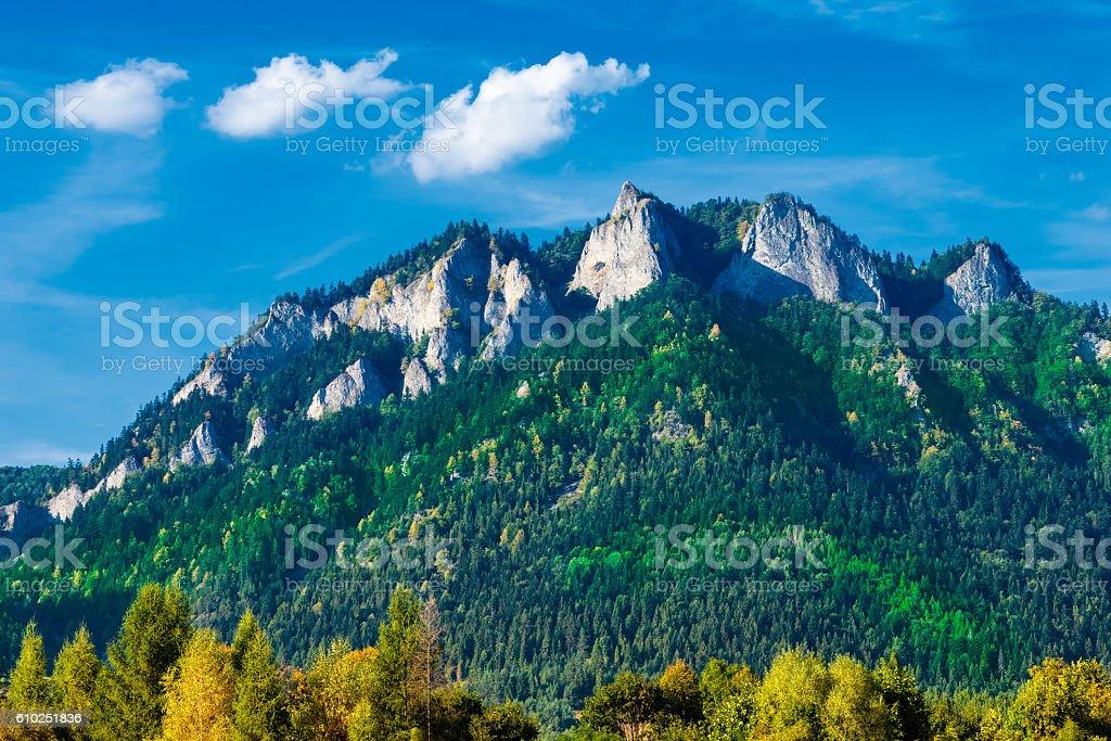 The Three Crowns (Trzy Korony) massif in The Pieniny stock photo